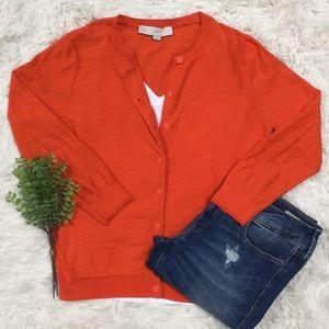 Loft 3/4 Sleeve Cardigan 💗 Orange